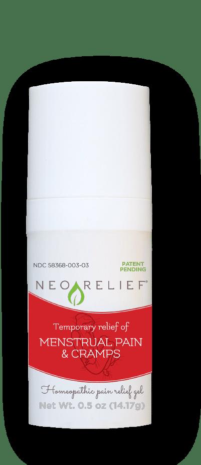NeoRelief Menstrual Pain & Cramps alternative relief gel bottle front