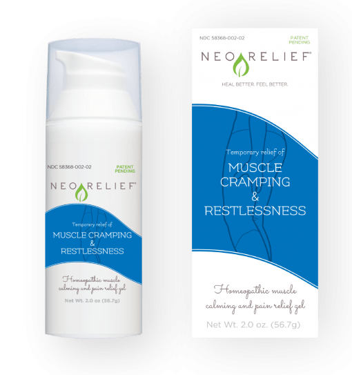 Natural pain relief gel bottle and box front, NeoRelief Muscle Cramping and Restlessness for muscle cramp relief