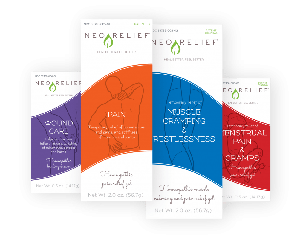 NeoRelief natural relief pain products for Pain, Muscle Cramping, Restlessness, Wound Care, and Menstrual Pain and Cramps