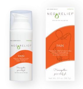 NeoRelief natural pain relief gel box and pump bottle