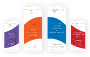 Box fronts of all four NeoRelief natural pain relief products
