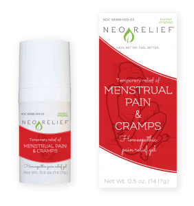 NeoRelief Menstrual Pain Relief and Cramps natural pain relief product bottle and box front