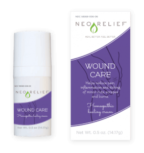 Natural pain relief cream bottle and box front of NeoRelief Wound Care therapeutic alternative