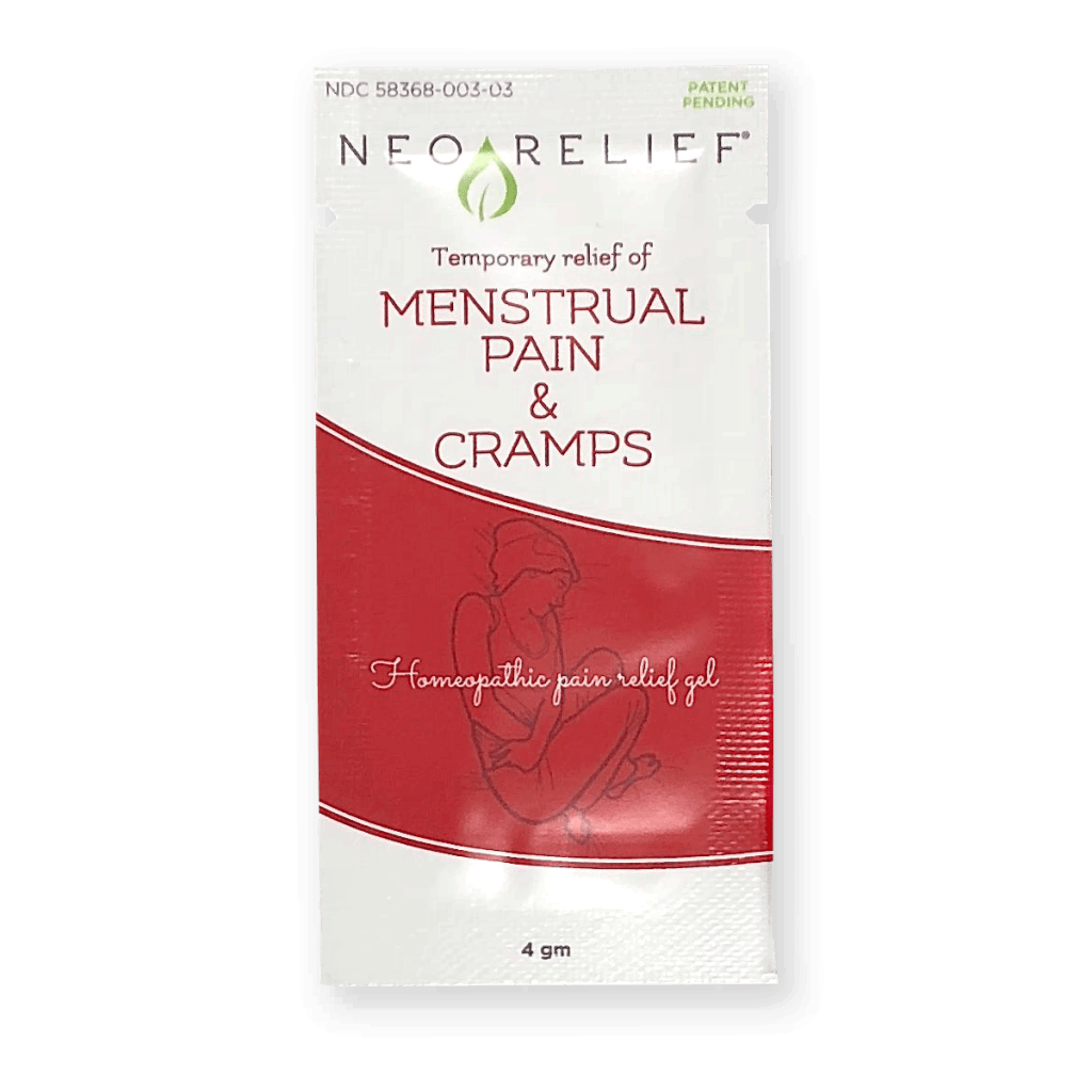 NeoRelief Menstrual Pain and Cramps topical pain relief sample pack front