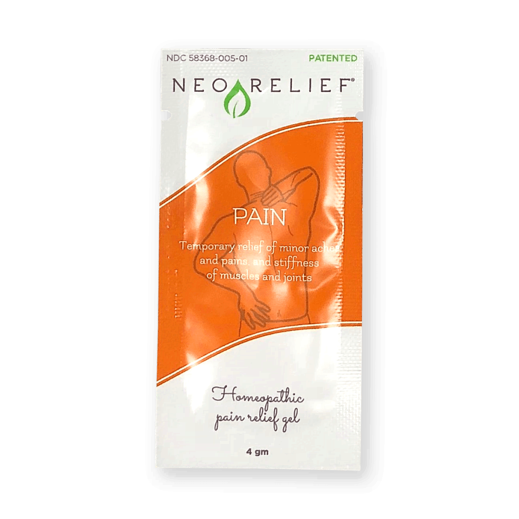 Sample pack front of NeoRelief alternative pain relief product