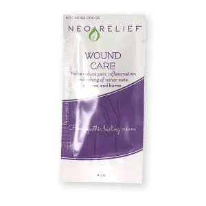 Sample pack front of NeoRelief Wound Care therapeutic alternative pain relief cream
