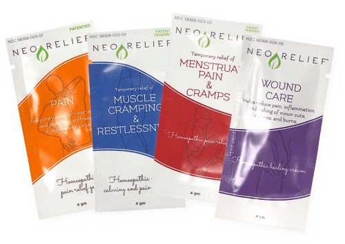 NeoRelief sample packs of four products: Pain, Muscle Cramping and Restlessness, Menstrual Pain and Cramps, and Wound Care
